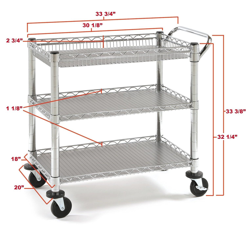 heavy duty commercial 3 shelf chrome steel utility cart. Black Bedroom Furniture Sets. Home Design Ideas