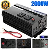Digital Display 2000W Car Power Inverter DC 12V to AC 110V Modified Sine Wave Converter wtih 4 USB Ports & Adapters for Device Electronic Charging, 3 Year Warranty (Tamaño: 2000W Power Inverter)