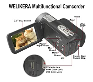 WELIKERA Camera Camcorder, Remote Control Handy Camera, IR Night Vision Camcorder, HD 1080P 24MP 16X Digital Zoom Video Camcorder with 3.0 LCD and 270 Degree Rotation Screen