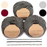 100% Baby Alpaca Yarn (Weight #3) DK - Set of 3 - AndeanSun - Luxuriously Soft for Knitting, Crocheting - Great for Baby Garments, Scarves, Hats, and Craft Projects - (Medium Grey) (Color: Medium Gray, Tamaño: #3 DK - Light)