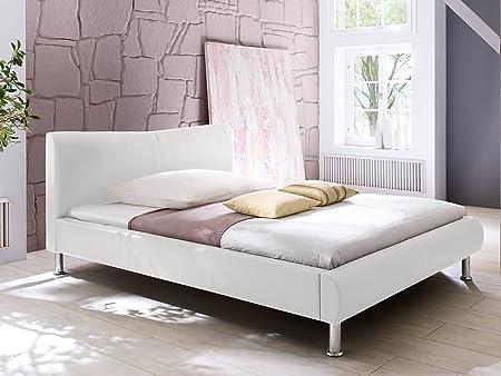 "Polsterbett Doppelbett Ehebett Jugendbett Bett Einzelbett Betten ""Traum I"" (120x200 cm, Weiß/Näthe-Weiß)"