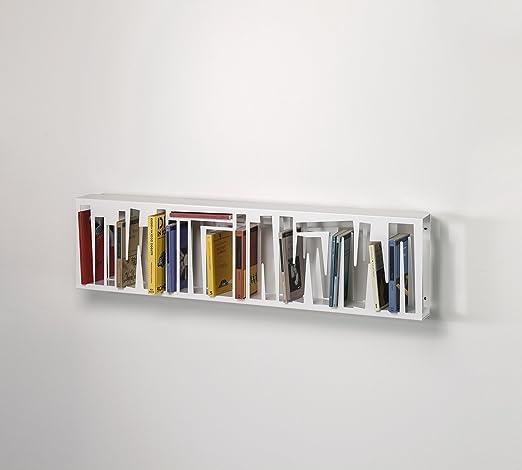 Libreria in metallo colore bianco opaco 120x10(16 con staffe incluse)x31 cm, scaffale per libri da parete o da appoggio dal design moderno e particolare, libreria per casa e ufficio con struttura in metallo, Made in Italy