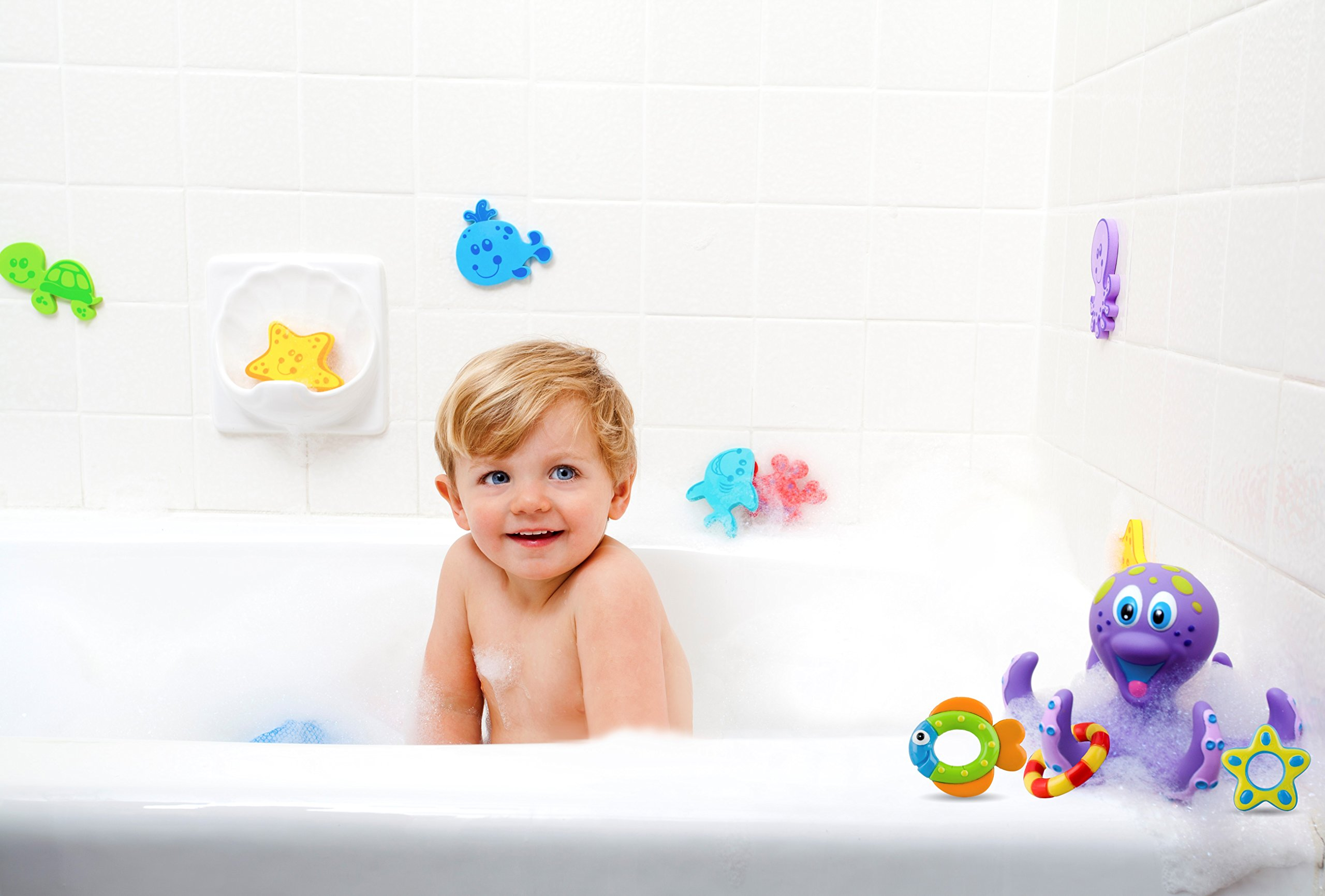 nuby floating octopus bath time pool toy tub 3 rings toddler child baby bpa free ebay. Black Bedroom Furniture Sets. Home Design Ideas
