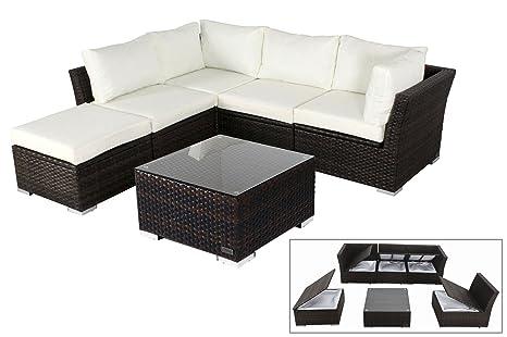 OUTFLEXX stilvolle Lounge Sitzgruppe Sofa Set aus hochwertigem Poly-Rattan, braun marmoriert, mit kleinem Hocker und Kaffeetisch, inkl. weiche Polster, fur 5 Personen, Kissenboxfunktion, wetterfest