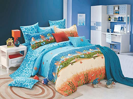 Bianca Peek‐A‐Boo Kids Cotton Single Bedsheet with 1 Pillow Cover - Turquoise at amazon
