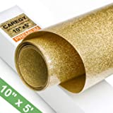 Glitter 10Inx5ft Gold Heat Transfer Vinyl Roll(HTV) for T-Shirt Clothing Garment Bags (Color: Gold)