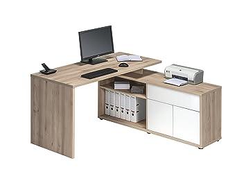 Computertisch Schreibtisch MAJA in Edelbuche - Hochglanz Weiß 153x75x149cm Burotisch
