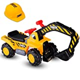 DUSTNIE Kids Excavator Ride On Toys - Sand Digger Sandbox Crane Pretend Toy for Boys Toddler Riding Outdoor Construction Backhoe Bulldozer Tractor Children Play Digging Front Loader Vehicles (Color: Yellow)