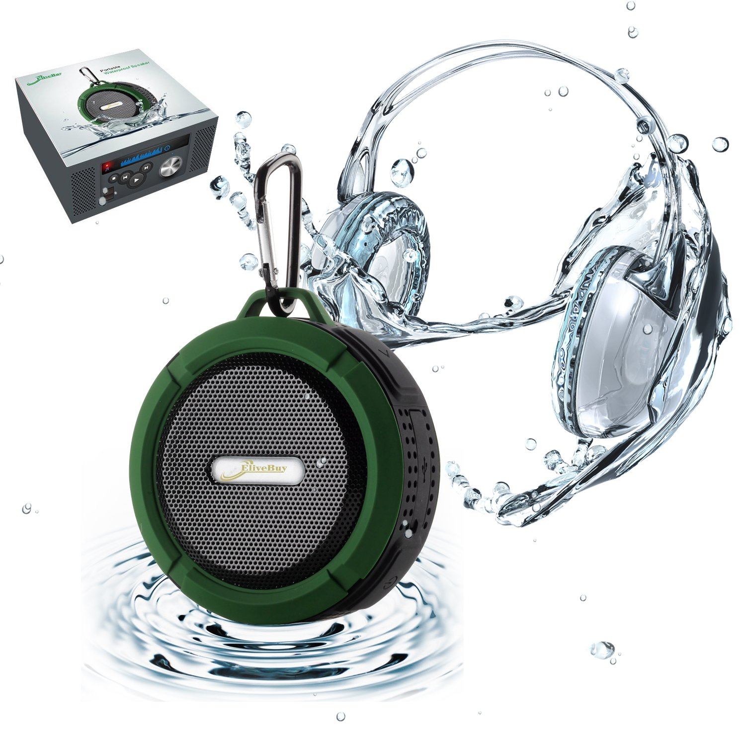 [Waterproof & Dustproof with Great Sound] Original Elivebuy® Wireless Bluetooth 3.0 Outdoor / Shower Speaker, Handsfree Portable Speakerphone with Built-in Mic, Control Buttons and Dedicated Suction Cup for Showers, Bathroom, Pool, Boat, Car, Beach, & Ou soundbot® sb510 hd water resistant bluetooth 3 0 shower speaker handsfree portable speakerphone with built in mic 6hrs of playtime control buttons and dedicated suction cup for showers bathroom pool boat car beach