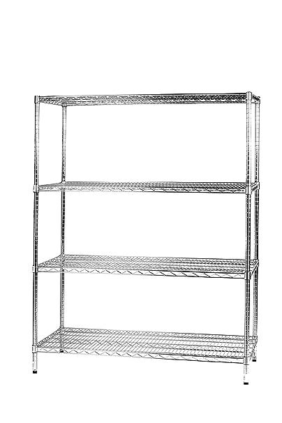 Archimede Sistema Componibile Scaffale Quattro Ripiani, Metallo, Cromato, 121 x 61 x 160 cm