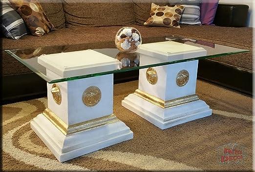 Designer Säulen Couchtisch Mäander Medusa Wohnzimmertisch Tisch Glastisch Säule