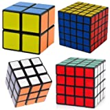 Ganoteck Black Cube Puzzle Bundle,4 Pack Speed Cube Sets,Puzzle Toy Gift Box,Shengshou rubik's Cube