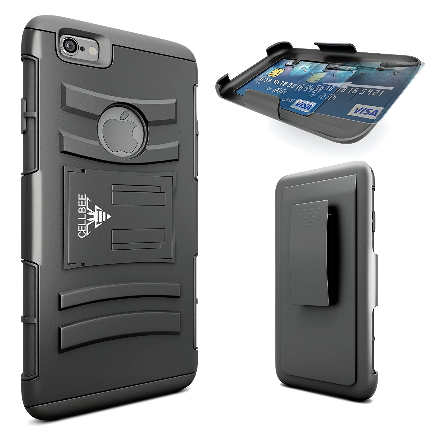 iPhone 6 Plus Case, CellBee® (Life Companion Plus) iPhone 6 Plus Dual Layer Heavy Duty Holster (Built-in Credit Card Slot Clip) Case with Kickstand and Locking Belt Swivel Clip (Rigid Metal) (Rigid Metal)