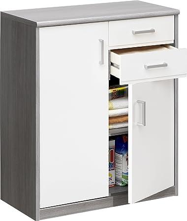 CS Schmal muebles suave Plus de alta densidad aglomerado con laminado satinado armarios multiusos 27Soft Plus, 72x 84x 36cm, madera de, silberoak/color blanco