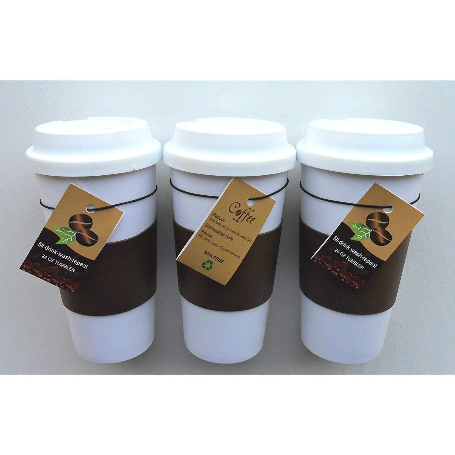 Travel Coffee Tea Mug Plastic 24oz Set of 3 Coffee