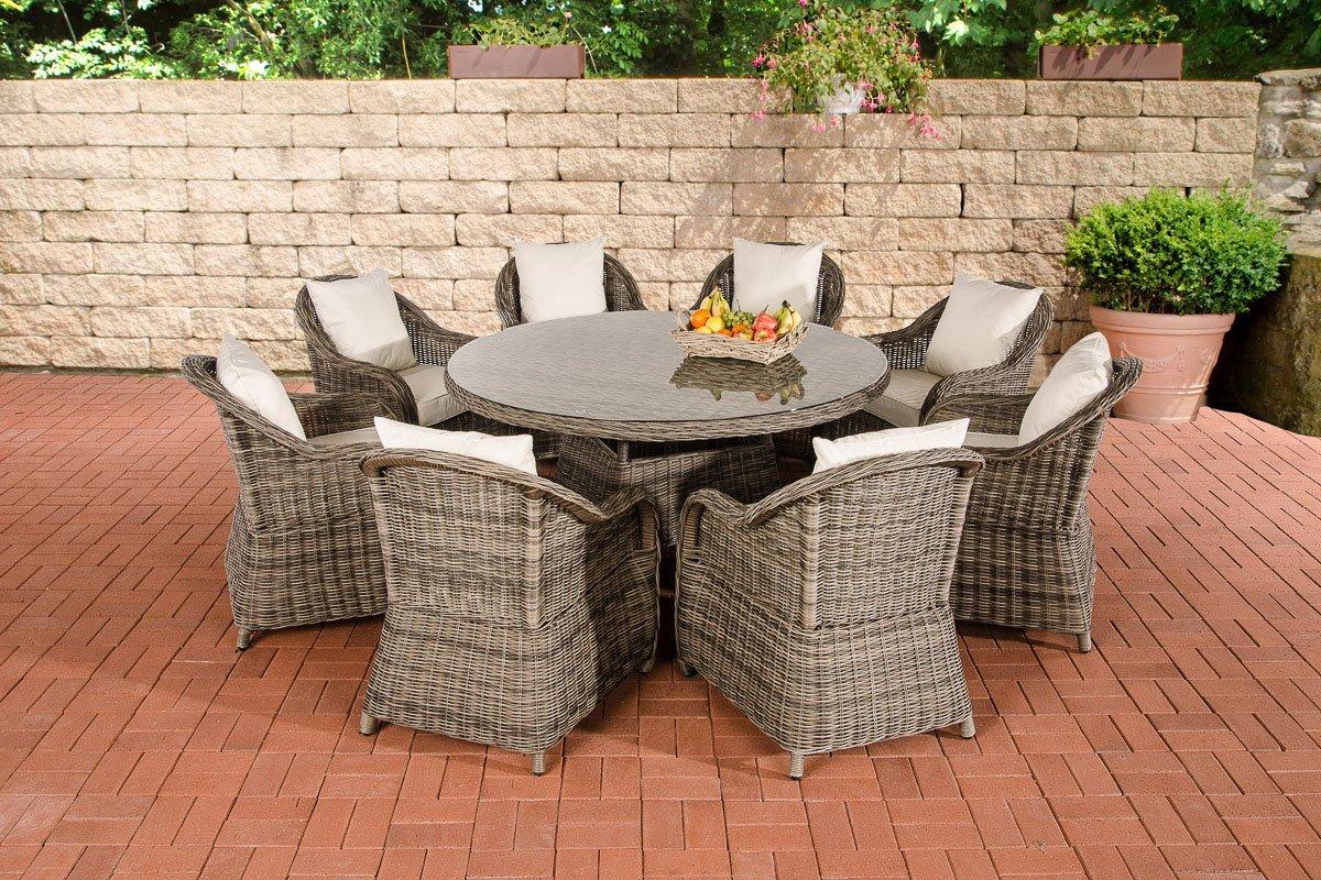 CLP Polyrattan Sitzgruppe STAVANGER XL grau-meliert (8 Sessel + Tisch rund Ø 150 cm + Sitzauflagen) grau-meliert, Bezugfarbe creme
