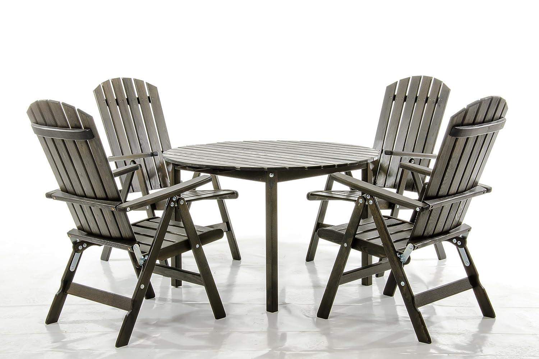 5-teiliges Set Sitzgruppe STRANDA Essgruppe Taupegrau Tisch rund ca. 114 cm Ø günstig