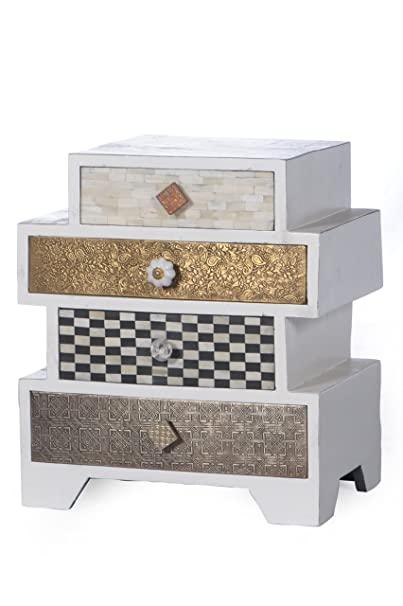 """SIT-Möbel 3754-10 Kommode """"Ivory"""", B/T/H: ca. 50 x 33 x 57 cm, Mango/MDF mit Messing/Metall/Kupfer/Coconut Shell/Knochen, lackiert, weiß"""