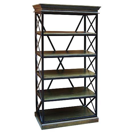 Yosemite Home Decor YFUR-VANCD55 Metal Framed Bookcase, Brown Finish