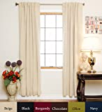 Beige Rod Pocket Energy Saving Thermal Insulated Blackout Curtain 96 Inch Length Pair