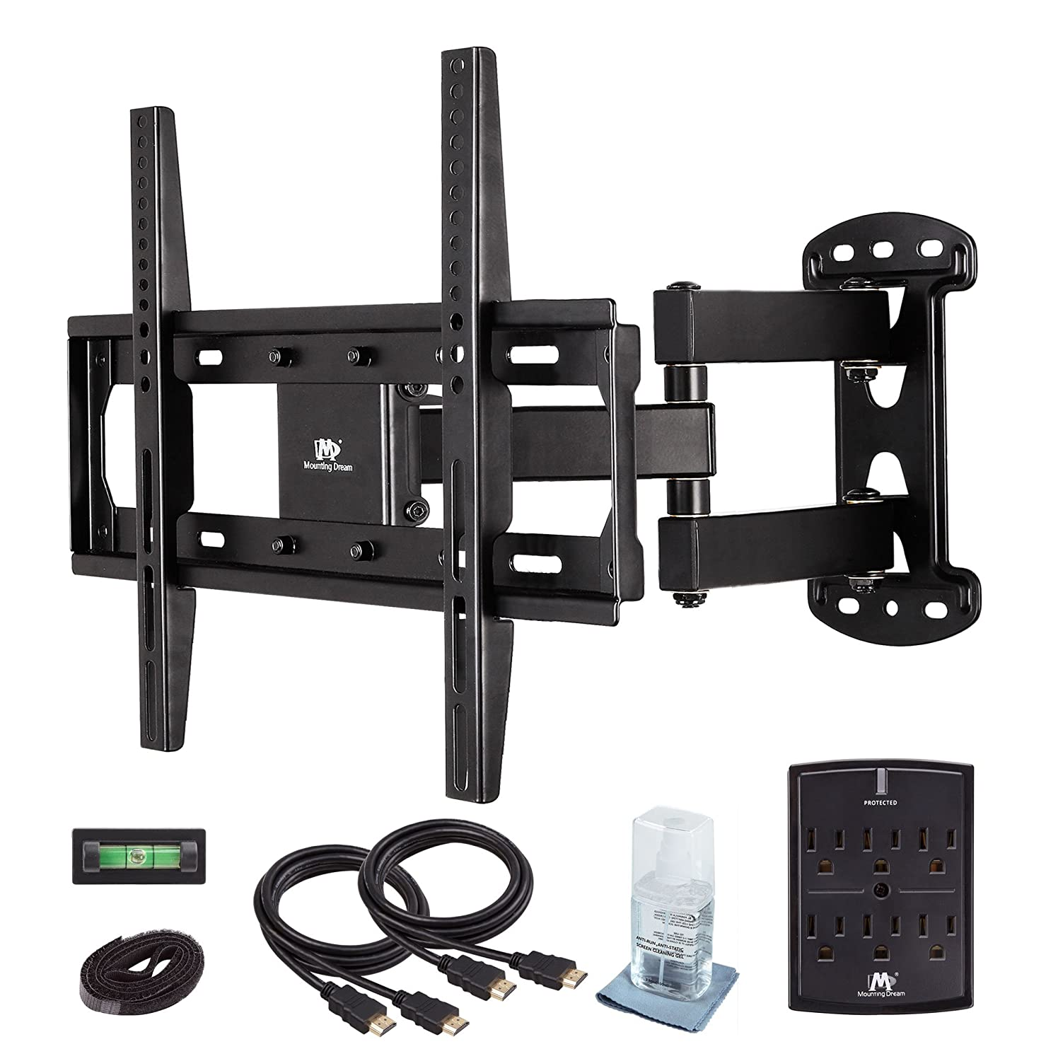 Mounting Dream MD2377-KT TV Wall Mount Bracket Kit for 26-55 Inches TVs with HDMI Cables, Velcro Cable Ties, Anti-static Screen Cleaning Gel & Magnetic Bubble Level