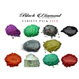 Variety Pack 5 (10 Colors) Mica Powder Pure, LUX, Glitter, Ghost and Diamond Series Variety Pigment Packs (Epoxy,Paint,Color,Art) Black Diamond Pigments (Color: Purple, Blue, Red, Gold, Silver, Green, Glitter)
