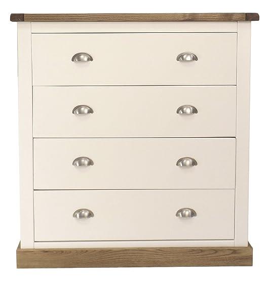 Armadietto a cassetti con maniglia cromata/quadrato gonna, legno, bianco
