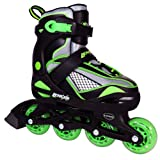 Inline Skates for Girls and Boys with Adjustable Sizing | Lenexa Viper Kids in-line roller skate blades | Comfortable fit | Safety non-slip wheels | Made for Fun (Black/Green, Small) (Tamaño: Small (Juvenile 11 - Kids 1))