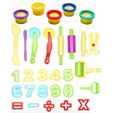 Ludos 30 Pc Play Dough Tools Set with 5 Tubs of Clay Dough| Math and Numbers Early Learning & Educational Toy for Kids and Toddlers | Playdough Tools Accessories Kit with Molds, Rolling Pin & Cutters (Color: 30 Piece Playdough Tool Set+ 5 Tubs of Playdough)