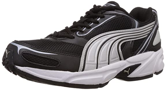 Puma Men's Aron Ind. Black, Puma Silver and White Mesh Running Shoes - 6 UK