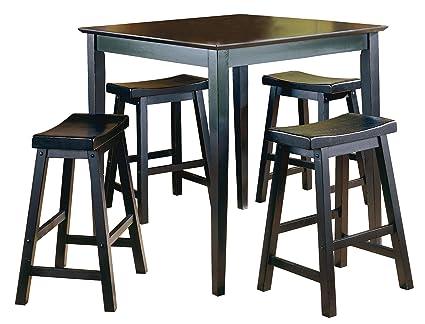 Homelegance 5 Piece Saddleback Dinette Set Solid Wood Table Top, Black