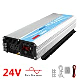 Pure Sine Wave Power Inverter 3000Watt DC 24V to AC120V with Dual AC Outlets with Remote Control 2.4A USB and LED Display (Color: Silver, Tamaño: 3000W 24V)