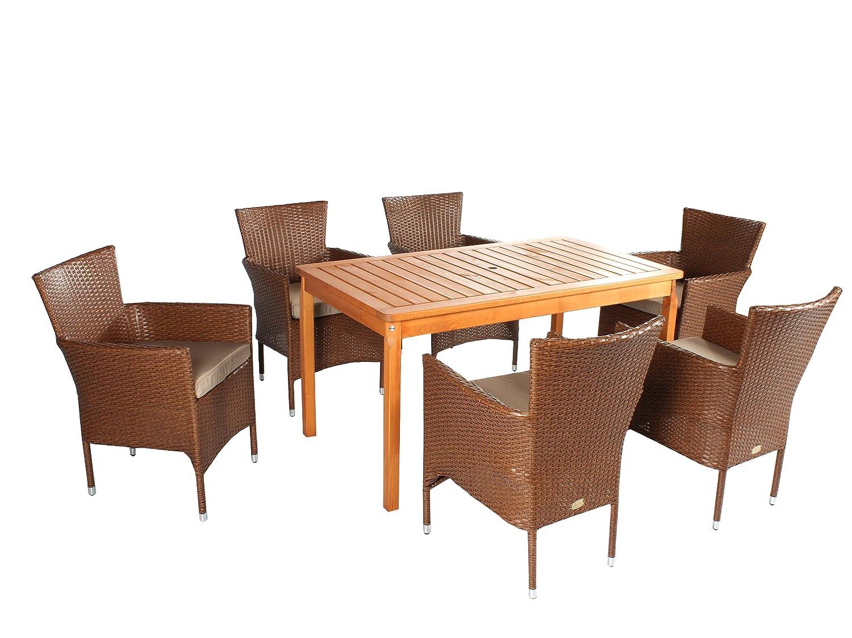 Ambientehome 7tlg. Polyrattan Sitzgruppe Sitzgarnitur Gartenmöbel BRAUN Sessel NICHT ZERLEGT & STAPELBAR!