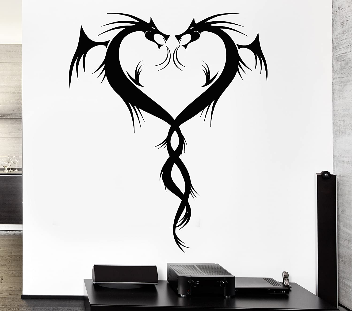 Beautiful dragon wall decals easy to apply and remove this decal is made per order and cut in house available colors are black white flame red dark red orange pink dark blue light blue dark green amipublicfo Image collections