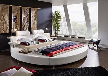 SAM® Rundbett Classico 180 x 200 cm in weiß Bett mit integrierter Beleuchtung im runden Design inklusive Nachttische und Kopfstutzen mit Chrom farbenen Fußen teilzerlegt Auslieferung mit Spedition