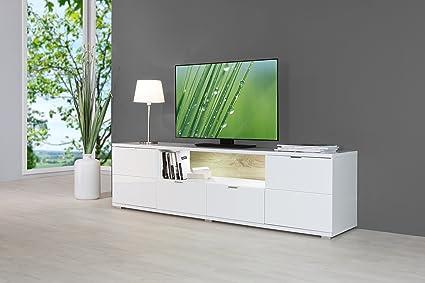 HIGHGLOSS TV Board inkl. LED-Beleuchtung in Hochglanz Weiß mit effektvoll beleuchteten Ruckwänden, Beleuchtung in weiß inklusive weiß