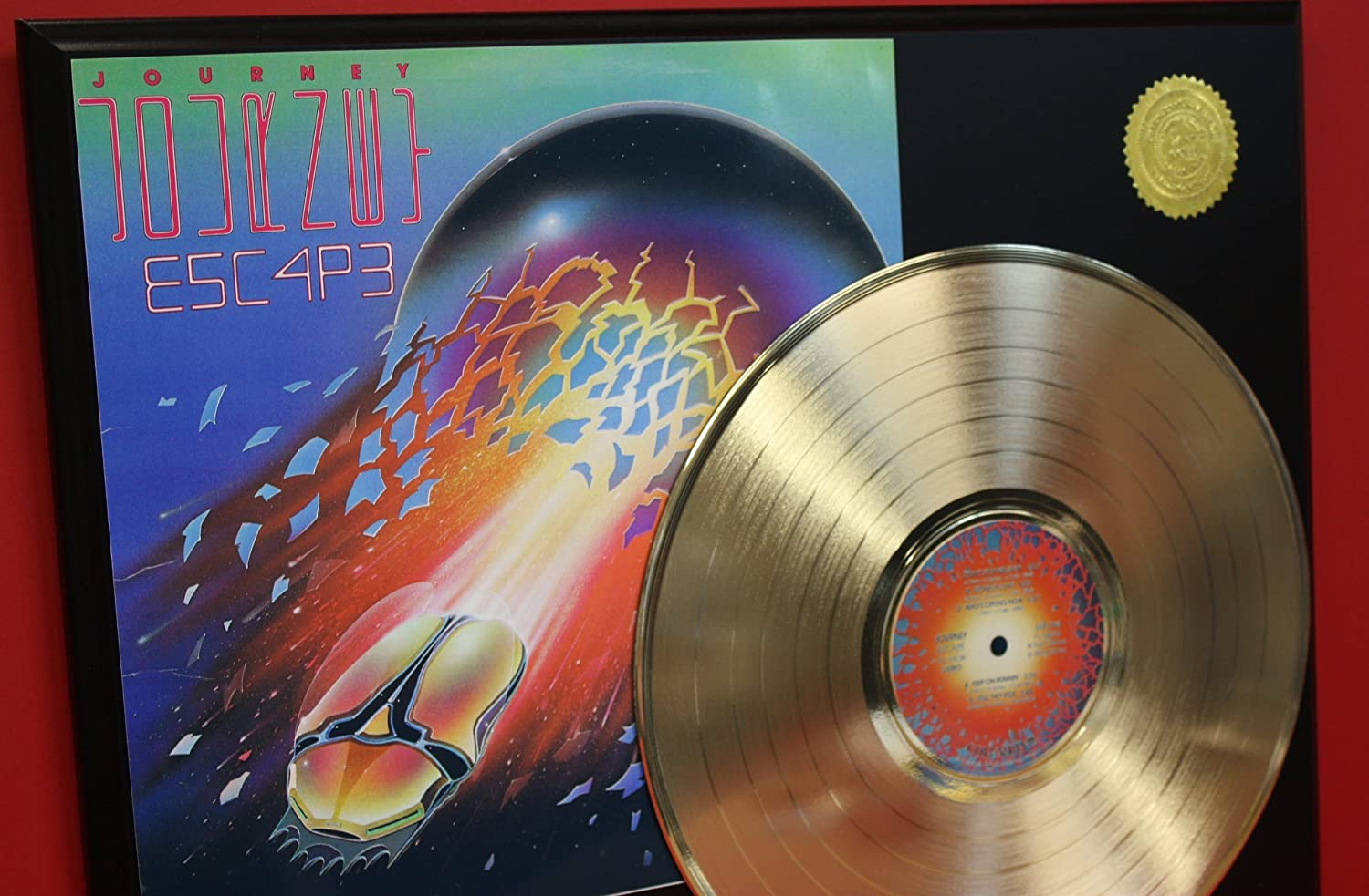 Journey E5C4P3 24Kt Gold LP Record LTD Edition Display