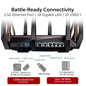 ASUS ROG Rapture GT-AX11000 AX11000 Tri-Band 10 Gigabit WiFi Router, Aiprotection Lifetime Security by Trend Micro, Aimesh Compatible for Mesh WIFI System, Next-Gen Wifi 6, Wireless 802.11Ax, 8 X Giga