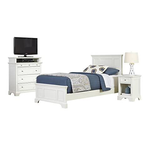 Home Styles 5530-4022 Naples Twin Bed, Night Stand and Media Chest, White