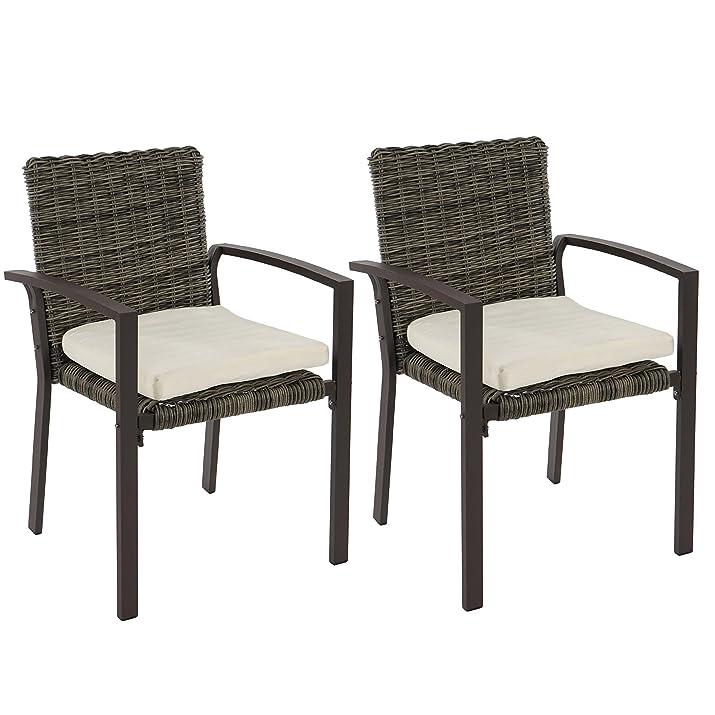 Set 2x sedie giardino Palma II N85 polyrattan 54x55x85cm con cuscini ~ naturale