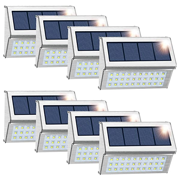 ROSHWEY Solar Deck Lights Outdoor, Waterproof Step Lamps Stainless Steel 30 LED Walkway Security Lights for Garden Fence Patio Pathway (Cool White Light, 8 Pack) (Color: Cool White Light - 8 Pack)