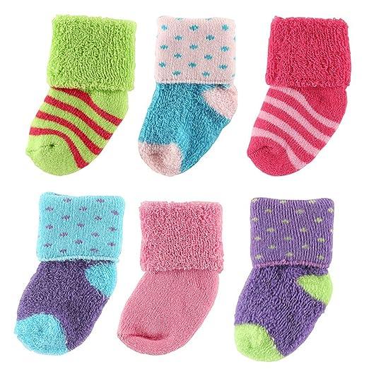 Luvable Friends 6-Pack Newborn Socks in Reusable Washbag, Pink