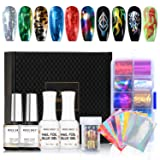 Modelones Nail Art Foil Glue Gel with Starry Sky Star Foil Stickers Set Nail Transfer Tips Manicure Art DIY 15ML, 10PCS Flame Nail Stickers, holographic,Gift Base&Top Coat,UV LED Lamp Required. (Color: Nail Foil Kit)