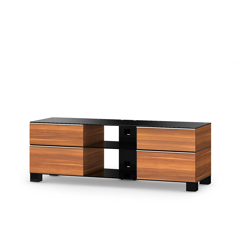 Sonorous MD 9240-B-HBLK-APL Fernseher-Möbel mit Schwarzglas (Aluminium Hochglanz, Korpus Holzdekor) apfel/schwarz