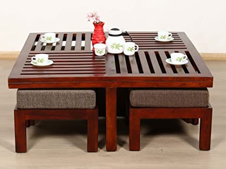 Legno Dekor tavolino con 4sgabelli, colore noce, 90x 90x 45cms