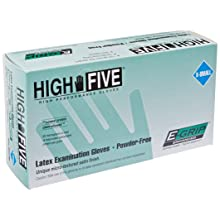 "High Five L970 E-Grip Latex Glove, Exam, Powder-Free, 5 mil Thickness, 9-1/2"" Length, X-Small, Natural (Case of 1000)"