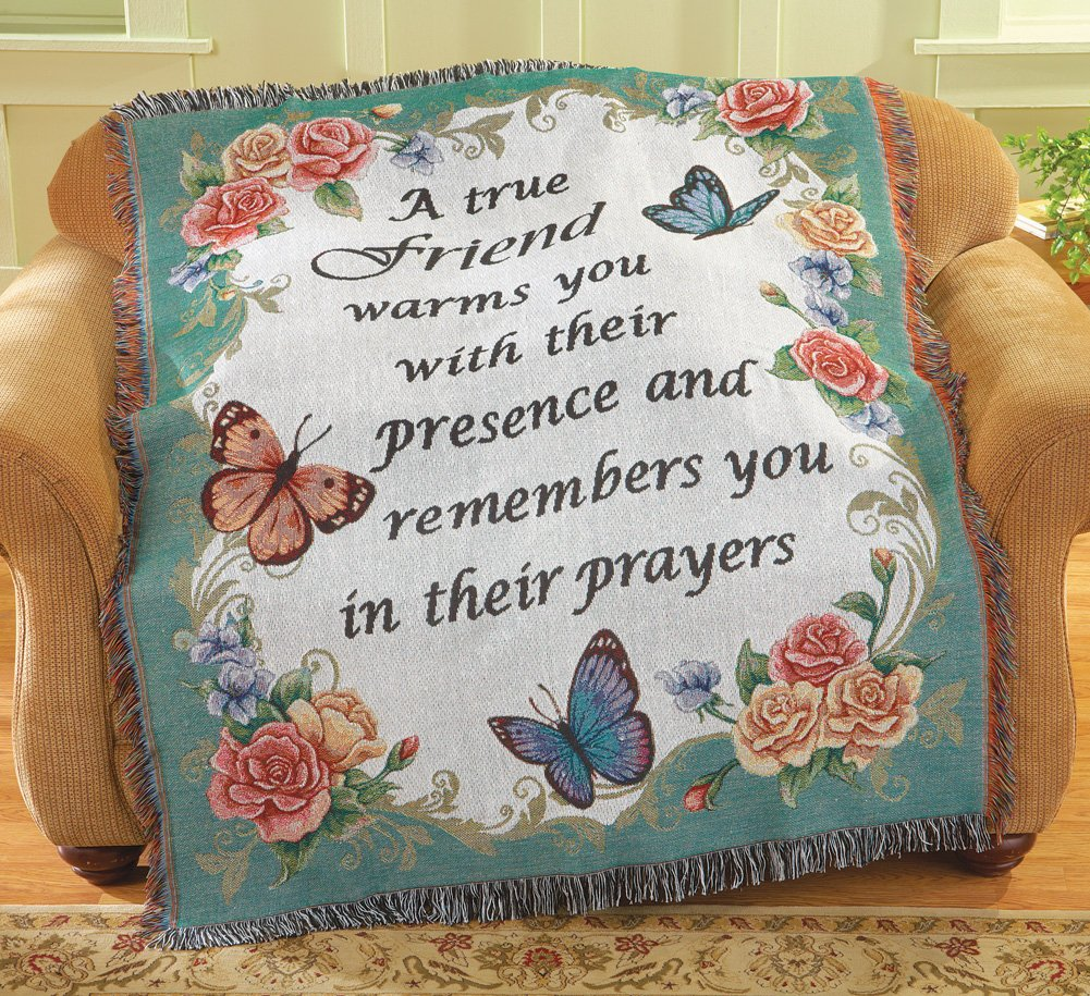 Floral Butterfly Friendship Tapestry Throw