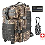 Anitee Outdoor 40L Military Backpack, Tactical Waterproof Army Rucksack with Emergency Survival kit for Camping Hiking Sport Trekking (Camo) (Color: Camo)