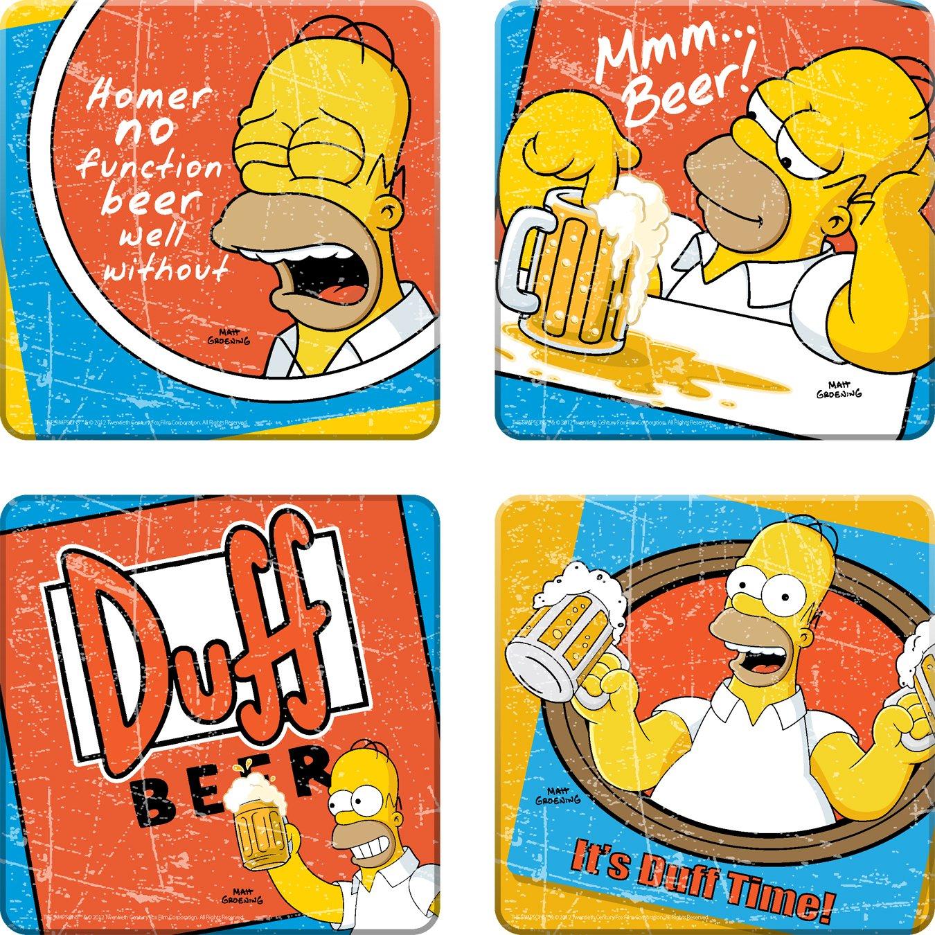The Simpsons Duff Beer 4 pc Wood Coaster Set