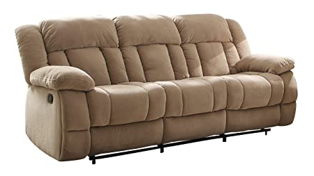 Homelegance 9636NF-3 Double Reclining Sofa, Taupe Fabric